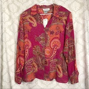 Liz & Me sheer paisley  blouse 16W Brand New